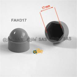 M10 diam. - 17 mm key  nut-bolt domed cap for protection, safety - GREY