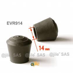 Embout enveloppant rond diam. 14 mm Caoutchouc NOIR