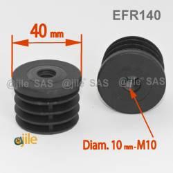 embout plastique rond pour tube de diam tre 25 mm avec trou filet diam 10 mm m10 embout. Black Bedroom Furniture Sets. Home Design Ideas