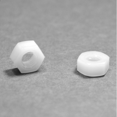 Dado M4 DIN934 esagonale di plastica - Chiave 7 mm - Ajile