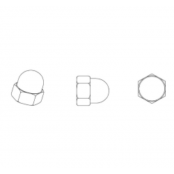 Dado M4 DIN1587 cieco esagonale di plastica - Chiave 7 mm - COLORE NYLON NATURALE - Ajile