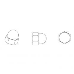 Dado M8 DIN1587 cieco esagonale di plastica - Chiave 13 mm - NERO - Ajile 2