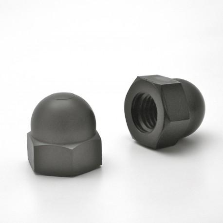 Dado M12 DIN1587 cieco esagonale di plastica - Chiave 19 mm - NERO - Ajile