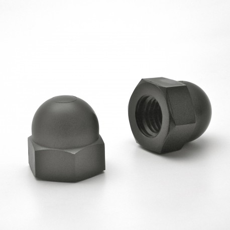M12 DIN1587 : Plastic hex. M12 dome nut for 19 mm wrench - Black - Ajile