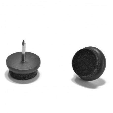 Patin Feutre diam. 17 mm Usage Intensif - Plastique BRUN et Feutre GRIS - À clouer - Ajile
