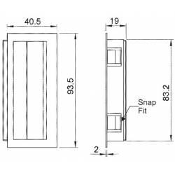 Poignée encastrable 40,5x93,5x19 PA noir - Ajile 2