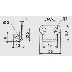 Grenouillère rigide 82 x 32,5 mm en acier zingué blanc avec crochet - Ajile 3