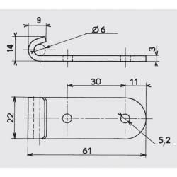 Grenouillère rigide 90 x 40 mm en acier zingué blanc avec crochet - Ajile