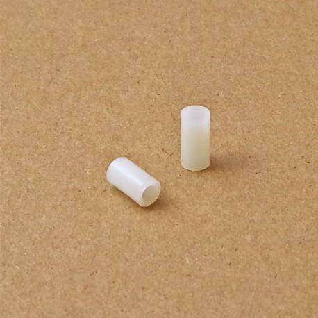 3,4x6x2 : Entretoise pour vis M3 longueur 2 mm en plastique, tubulaire lisse - Ajile