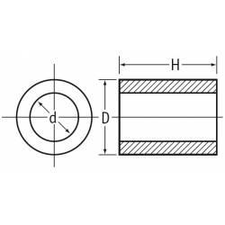 3,4x6x4 : Entretoise pour vis M3 longueur 4 mm en plastique, tubulaire lisse - Ajile