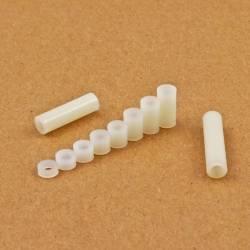 3,4x6x20 : Entretoise pour vis M3 longueur 20 mm en plastique, tubulaire lisse - Ajile 3