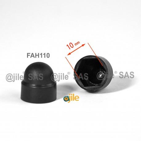 M6: 10 mm Schlüssel, runde Schutzkappen mit Innensechskant für Muttern und Schraubenköpfe - SCHWARZ - Ajile