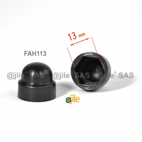 M8 diam. - 13 mm key  nut-bolt domed cap for protection, safety - BLACK - Ajile