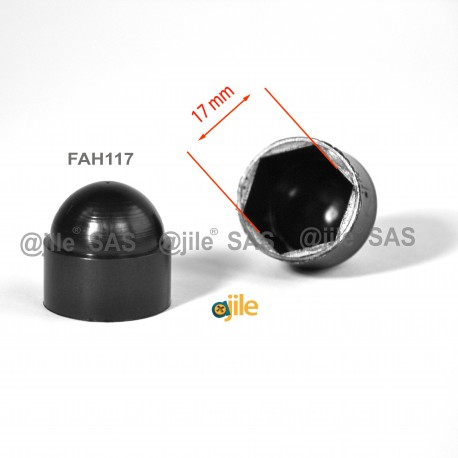 M10 diam. - 17 mm key  nut-bolt domed cap for protection, safety - BLACK - Ajile