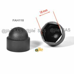 M12 diam. - 18 mm key nut-bolt domed cap for protection, safety - BLACK