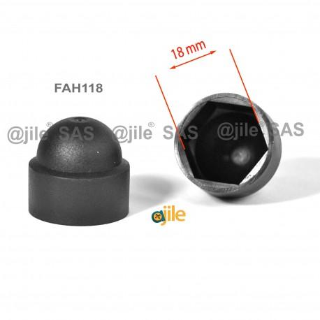 Tappo chiave 18 mm a cupola M12 di protezione per dadi e bulloni esagonali - NERO - Ajile