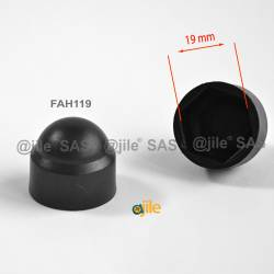 M12 diam. - 19 mm key  nut-bolt domed cap for protection, safety - BLACK - Ajile