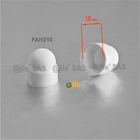 M6 diam. - 10 mm key  nut-bolt domed cap for protection, safety - WHITE - Ajile