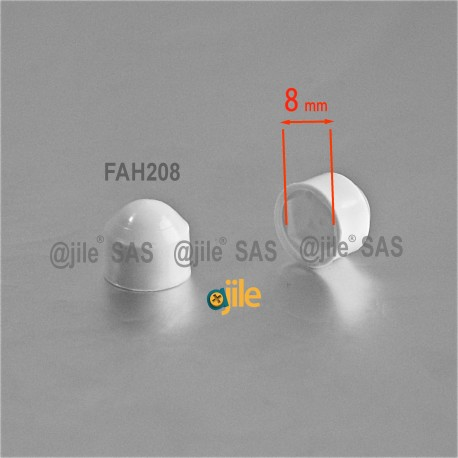 M5 diam. - 8 mm key  nut-bolt domed cap for protection, safety - WHITE - Ajile