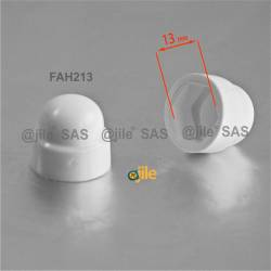 M8 diam. - 13 mm key nut-bolt domed cap for protection, safety - WHITE