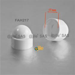 M10 diam. - 17 mm key nut-bolt domed cap for protection, safety - WHITE