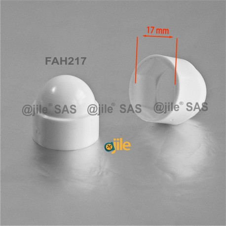 M10 diam. - 17 mm key  nut-bolt domed cap for protection, safety - WHITE - Ajile