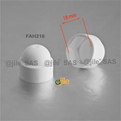 M12 diam. - 18 mm key nut-bolt domed cap for protection, safety - WHITE