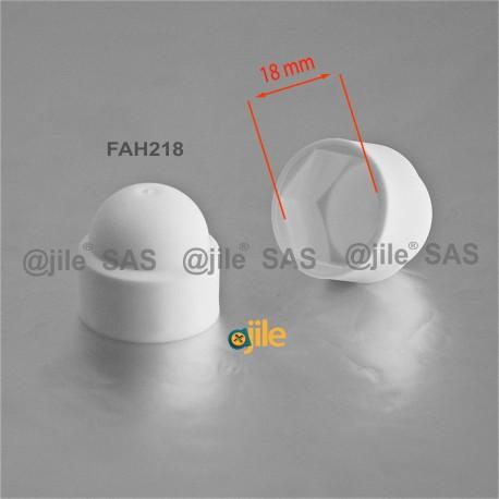 Tappo chiave 18 mm a cupola M12 di protezione per dadi e bulloni esagonali - BIANCO - Ajile