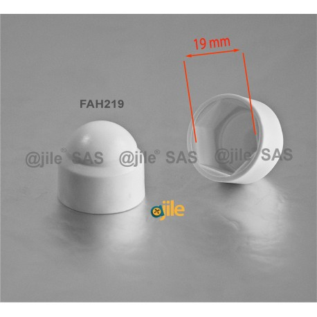 M12 diam. - 19 mm key  nut-bolt domed cap for protection, safety - WHITE - Ajile