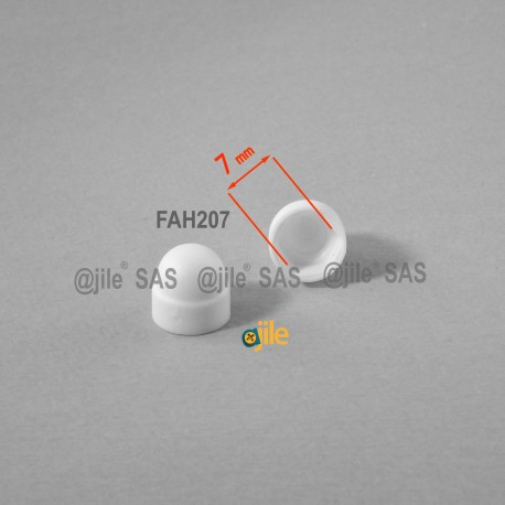 M4 diam. - 7 mm key  nut-bolt domed cap for protection, safety - WHITE - Ajile