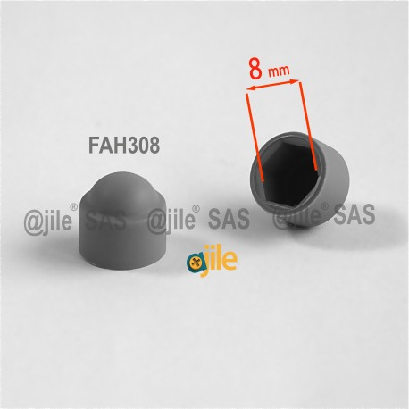 M5 diam. - 8 mm key nut-bolt domed cap for protection, safety - GREY - nut-bolt-cap-grey - ajile
