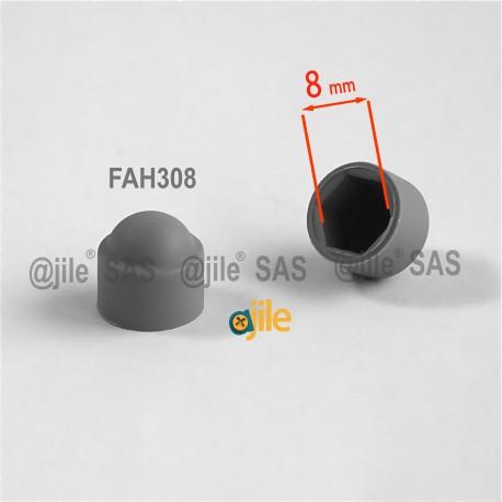 Tappo chiave 8 mm a cupola M5 di protezione per dadi e bulloni esagonali - GRIGIO - Ajile