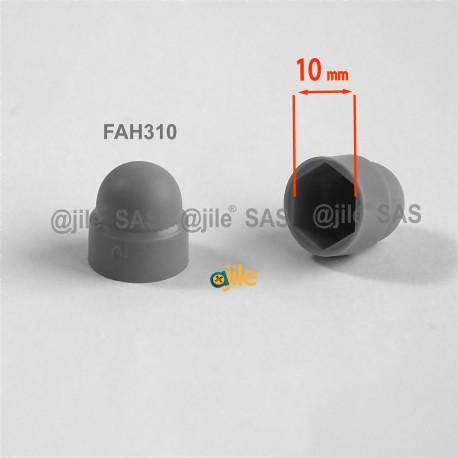M6 diam. - 10 mm key nut-bolt domed cap for protection, safety - GREY - nut-bolt-cap-grey - ajile