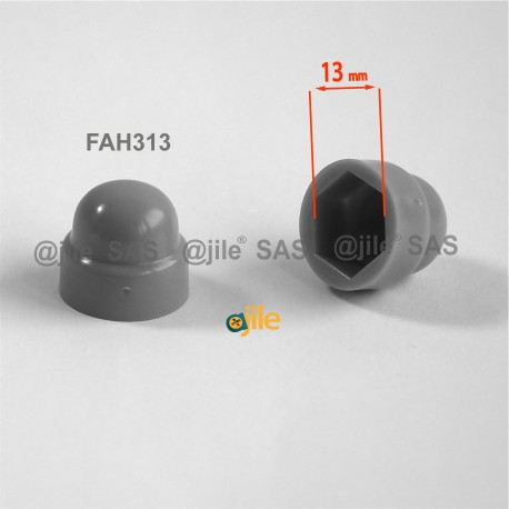 M8 diam. - 13 mm key  nut-bolt domed cap for protection, safety - GREY - Ajile