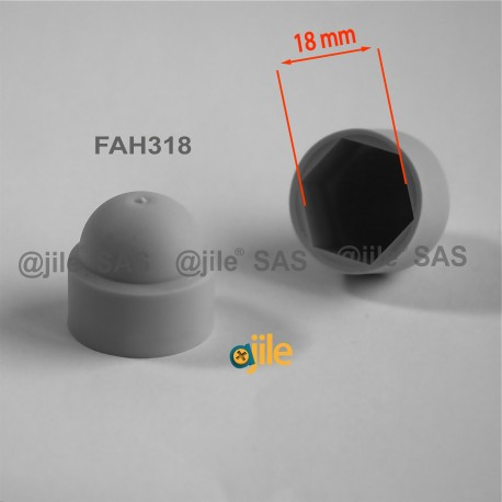 M12 diam. - 18 mm key  nut-bolt domed cap for protection, safety - GREY - Ajile