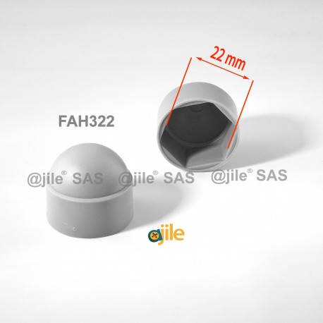 M14 diam. - 22 mm key  nut-bolt domed cap for protection, safety - GREY - Ajile