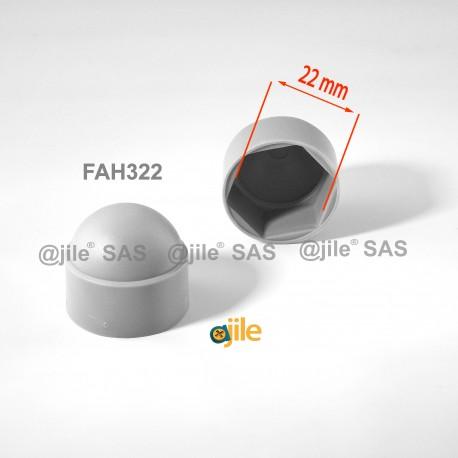 Tappo chiave 22 mm a cupola M14 di protezione per dadi e bulloni esagonali - GRIGIO - Ajile