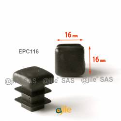 Square ribbed insert for tubes 16 x 16 mm BLACK plastic - Ajile