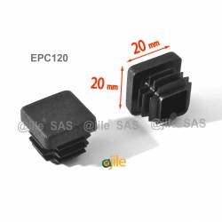 20 x 20 mm Lamellen-Stopfen für Vierkantröhre mit 20 x 20 mm Aussenmass  - SCHWARZ