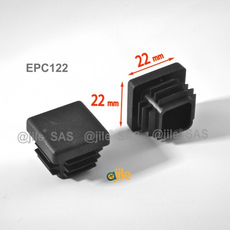 22 x 22 mm Lamellen-Stopfen für Vierkantröhre mit 22 x 22 mm Aussenmass  - SCHWARZ - Ajile