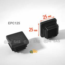 Square ribbed insert for tubes 25 x 25 mm BLACK plastic