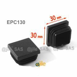 Square ribbed insert for tubes 30 x 30 mm BLACK plastic