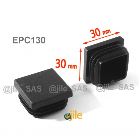 Square ribbed insert for tubes 30 x 30 mm BLACK plastic - Ajile