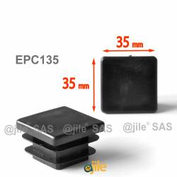 Square ribbed insert for tubes 35 x 35 mm BLACK plastic