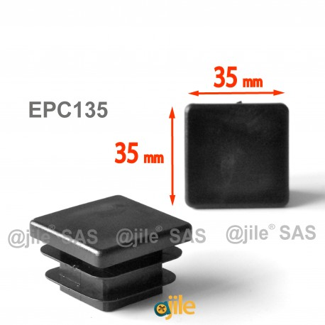Square ribbed insert for tubes 35 x 35 mm BLACK plastic - Ajile