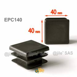 Square ribbed insert for tubes 40 x 40 mm BLACK plastic