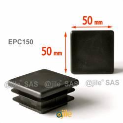 50 x 50 mm Lamellen-Stopfen für Vierkantröhre mit 50 x 50 mm Aussenmass  - SCHWARZ