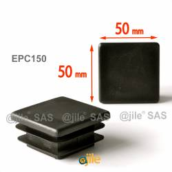 Square ribbed insert for tubes 50 x 50 mm BLACK plastic