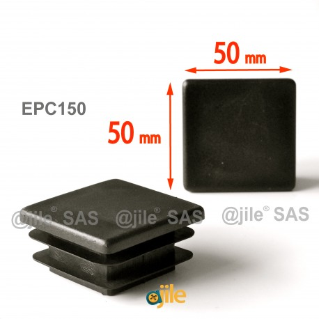 Inserto 50 x 50 mm a lamelle quadrato per tubo 50 x 50 mm dim. esteriore - NERO - Ajile