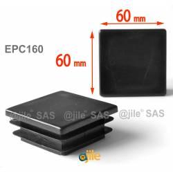 Embout carré à ailettes 60 x 60 mm Plastique NOIR - Ajile